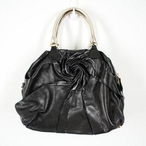 Valentino Black Rose Leather Bowling Handbag